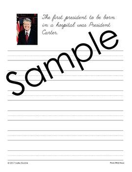 U.S. Presidents Unit - Copywork - Print and Cursive - Handwriting
