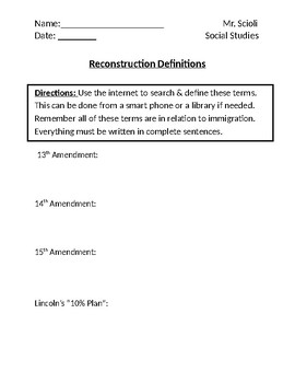 U.S. Reconstruction Era Homework Definitions