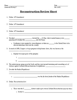 U.S. Reconstruction Era Review Sheet
