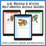 U.S. Regions & States Self-Grading Google Quizzes