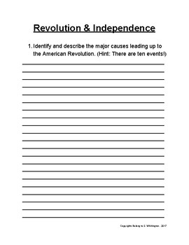 U.S. Revolution and Independence Test