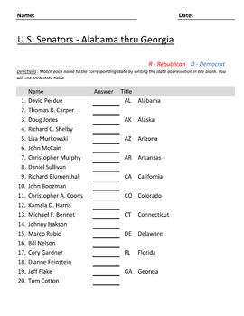 U.S. Senators Worksheets