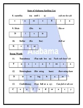 U.S. Southeast Region Spelling Lists