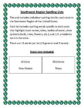 U.S. Southwest Region Spelling Lists