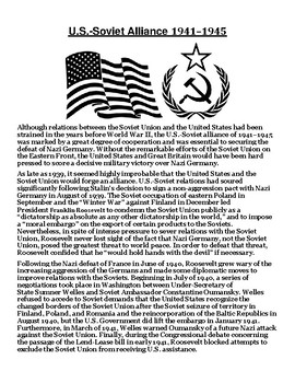 U.S.-Soviet Alliance 1941–1945 Article with Summary Assignment