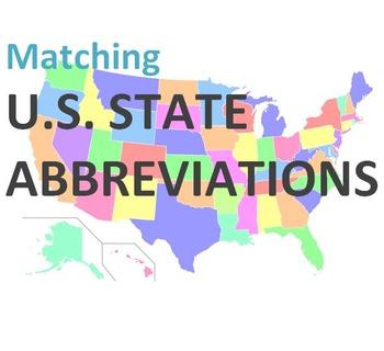 U.S. State Abbreviations Vocab  (Adult ESL)