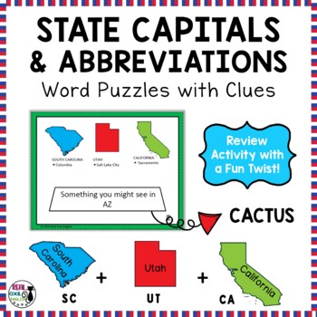 U.S. State Abbreviations and Capitals Puzzles