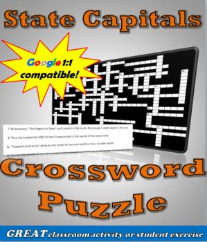 U.S. State Capitals Crossword Puzzle