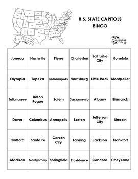 U.S. State Capitols Bingo