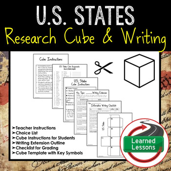 U.S. States Activity Research Cube with Writing Extension Activity Pack