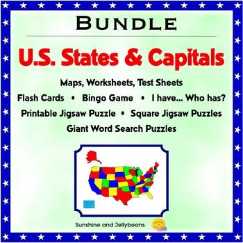 U.S. States & Capitals Bundle - Worksheets, Maps, Flash Cards, Bingo, Puzzle