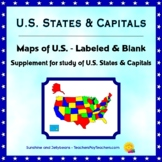 U.S. States & Capitals - Labeled & Blank Maps for Study and Practice - Geography