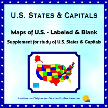 U.S. States & Capitals - Labeled & Blank Maps for Study and ...