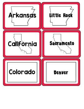 U.S. States & Capitals Matching Game