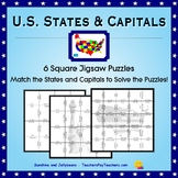U.S. States & Capitals Active Practice - Square Jigsaw Puzzles - Matching