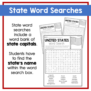 U.S. States & Capitals Word Searches by Cheerful Teaching ...