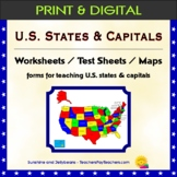 U.S. States & Capitals Worksheets, Test Sheets, Maps - b/w - Geography study