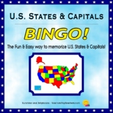 U.S. States and Capitals Bingo game - Fun & Easy Geography Study