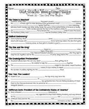 U.S. Studies Weekly Weeks 17-24 Cloze Passages