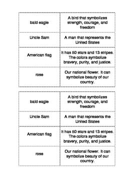 U.S. Symbols Matching Game (Bilingual, Spanish/English)
