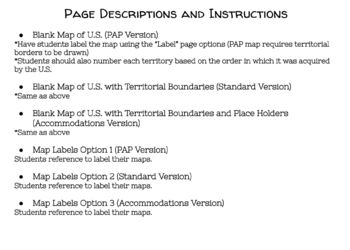 U.S. Territorial Expansion Map, Labels, and Assessment