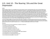 U.S. Unit 12 - The Roaring '20s and the Great Depression