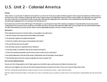 U.S. Unit 2 - Colonial America