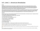 U. S. Unit 3 - American Revolution