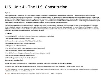 U.S. Unit 4 - The U.S. Constitution