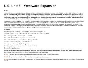 U.S. Unit 6 - Westward Expansion