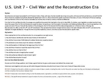 U.S. Unit 7 - Civil War and the Reconstruction Era