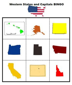 U.S. Western States and Capitals Bingo