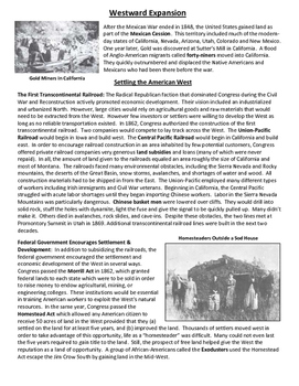 U.S. Westward Expansion Guided Reading Distance Learning
