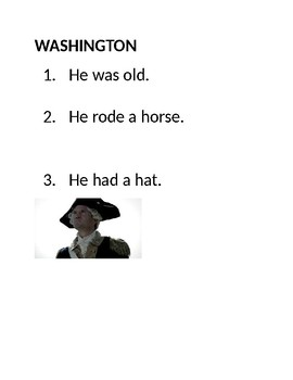 Special Education- U.S. presidents visual with simple sentences-Modified