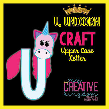 U - UNICORN Upper Case Capital Alphabet Letter Craft