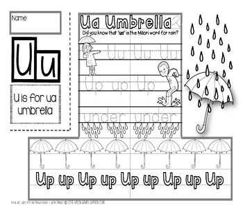 U = Ua-Umbrella (Rain-Umbrella)  {Kiwiana Themed 'Make & Take' Alphabet Set}