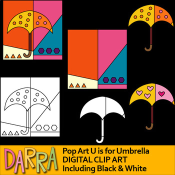 U is for Umbrella - Alphabet interactive clip art for color by code