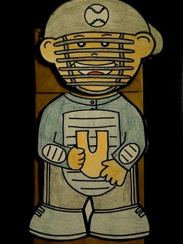 U is for Umpire paper bag puppet