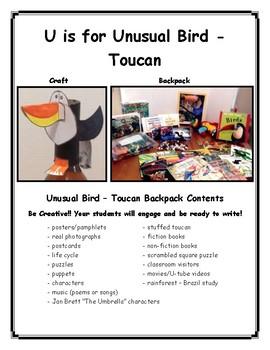 U is for Unusual Bird - Toucan