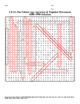 U.s. History STAAR Word Search Puzzle Ch-11: The Gilded Age-Agrarian & Populist