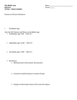U0 The Middle Ages - Student Outline