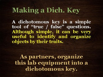 U14 D03 - Dichotomous Key Equipment Lab (Variation and Adaptation unit)