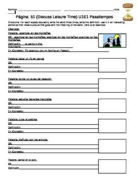 U1E1 En Espanol Leisure Time Vocabulary Worksheet