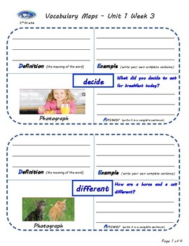 U1W3-Wonders Vocabulary Maps 2nd Grade