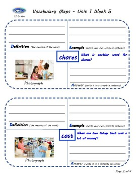 U1W5-Wonders Vocabulary Maps 2nd Grade