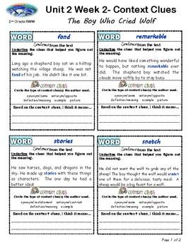 U2W2-Wonders Context Clues Graphic Organizers 2nd Grade