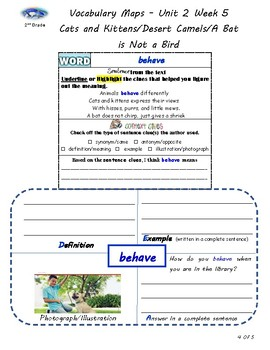 U2W5-Wonders Context Clues Graphic Organizers/Vocabulary Maps 2nd Grade