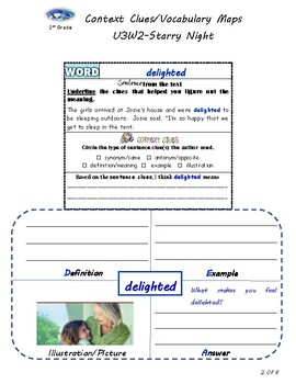 U3W2-Wonders Context Clues Graphic Organizers/Vocabulary Maps 2nd Grade