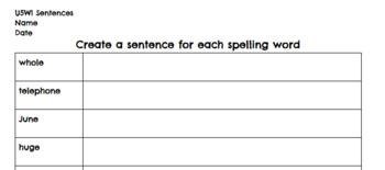 U5W1 3rd Grade Benchmark Advance Spelling Sentences