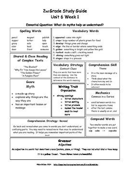 U6 W1 McGraw-Hill Wonders 2nd Grade Study Guide